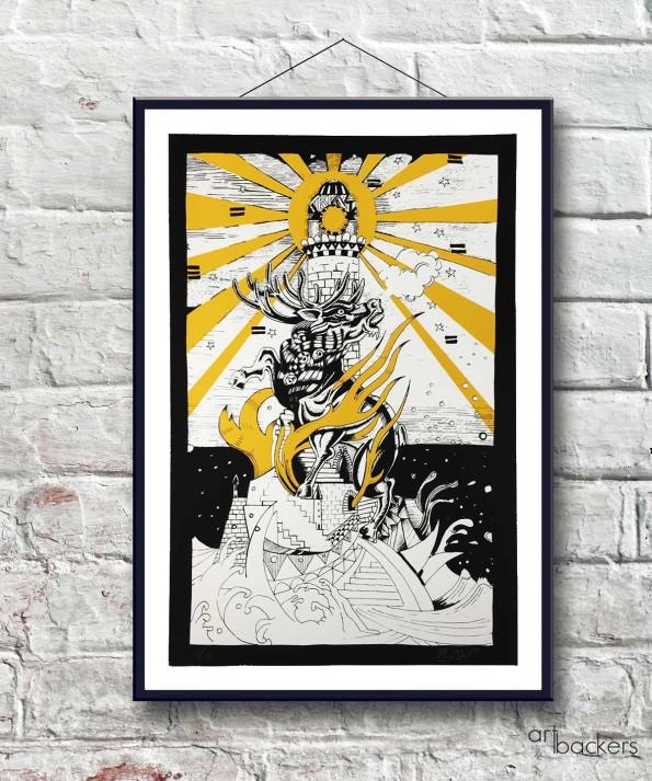 """Giorgio """"Jorghe"""" Casu – The Deer and Lighthouse – Yellow"""