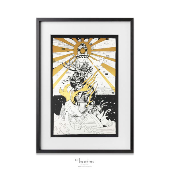 """Giorgio """"Jorghe"""" Casu – The Deer and Lighthouse – Gold_Artbackers"""