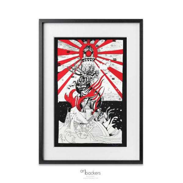 Giorgio Jorghe Casu - The Deer and Lighthouse - Red