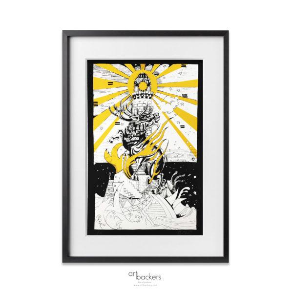 Giorgio Jorghe Casu - The Deer and Lighthouse - Yellow_artbackers